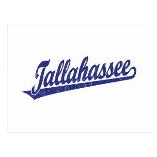 Logotipo de la escritura de Tallahassee en el azul Tarjeta Postal
