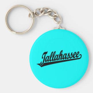 Logotipo de la escritura de Tallahassee en negro Llavero Redondo Tipo Pin