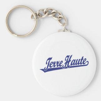 Logotipo de la escritura de Terre Haute en azul Llavero Redondo Tipo Pin