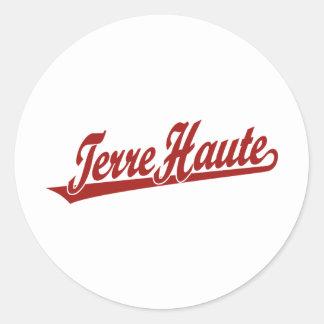 Logotipo de la escritura de Terre Haute en rojo Pegatina Redonda
