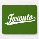 Logotipo de la escritura de Toronto en blanco Tapete De Raton