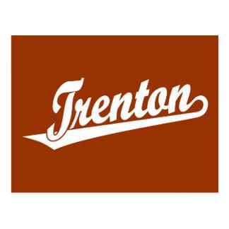 Logotipo de la escritura de Trenton en blanco Postal