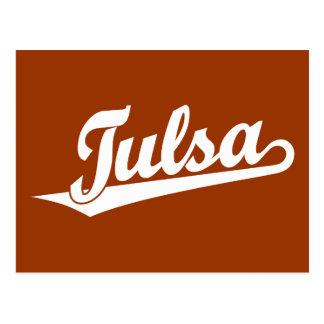 Logotipo de la escritura de Tulsa en blanco Tarjeta Postal