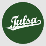 Logotipo de la escritura de Tulsa en el blanco Etiquetas Redondas