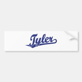 Logotipo de la escritura de Tyler en azul Etiqueta De Parachoque