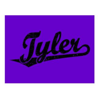 Logotipo de la escritura de Tyler en el negro apen Tarjeta Postal