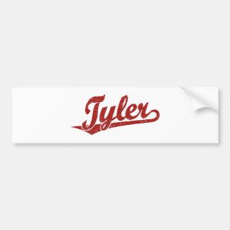 Logotipo de la escritura de Tyler en el rojo apena Etiqueta De Parachoque