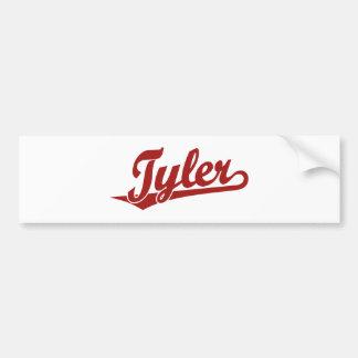 Logotipo de la escritura de Tyler en rojo Pegatina De Parachoque