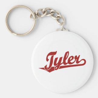 Logotipo de la escritura de Tyler en rojo Llavero Redondo Tipo Pin