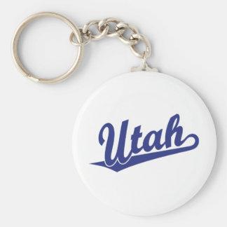 Logotipo de la escritura de Utah en azul Llavero Redondo Tipo Pin