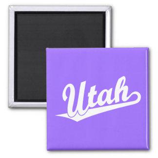 Logotipo de la escritura de Utah en blanco Imán Cuadrado