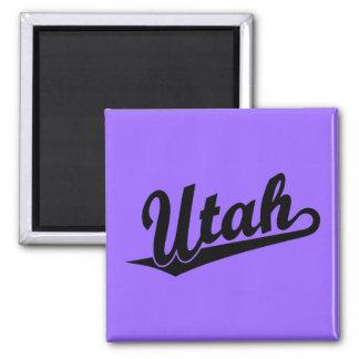 Logotipo de la escritura de Utah en negro Imán Cuadrado