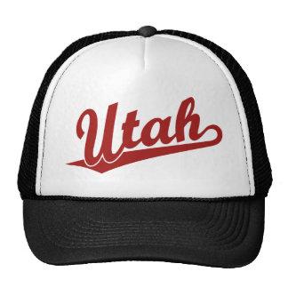 Logotipo de la escritura de Utah en rojo Gorros Bordados
