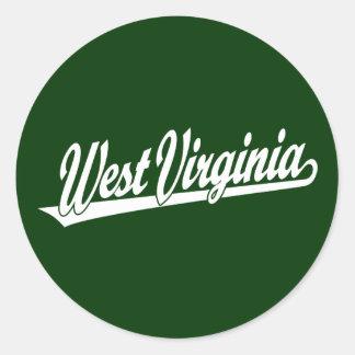 Logotipo de la escritura de Virginia Occidental en Pegatina Redonda