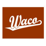 Logotipo de la escritura de Waco en blanco Tarjetas Postales