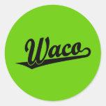 Logotipo de la escritura de Waco en negro Etiquetas Redondas