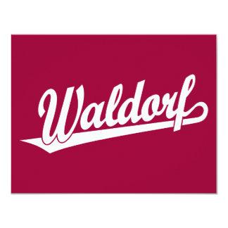 Logotipo de la escritura de Waldorf en blanco Invitación 10,8 X 13,9 Cm