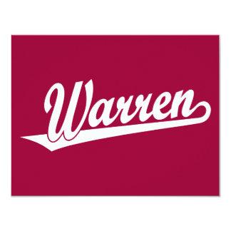 Logotipo de la escritura de Warren en blanco Invitación 10,8 X 13,9 Cm
