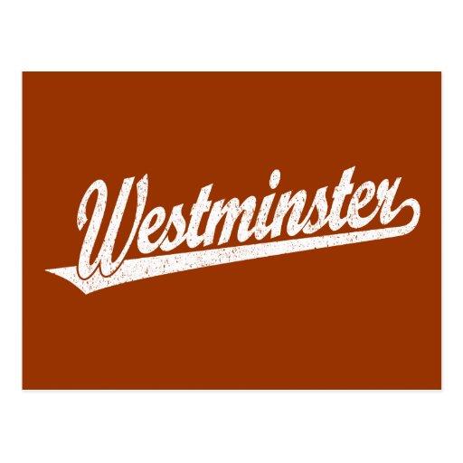Logotipo de la escritura de Westminster en el blan Postales