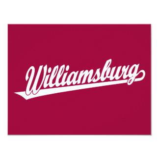 Logotipo de la escritura de Williamsburg en blanco Invitación 10,8 X 13,9 Cm