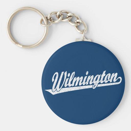 Logotipo de la escritura de Wilmington en el blanc Llavero Redondo Tipo Pin