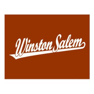 Logotipo de la escritura de Winston-Salem en blanc Postales