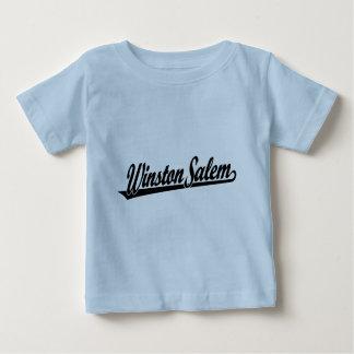 Logotipo de la escritura de Winston-Salem en negro Playera De Bebé