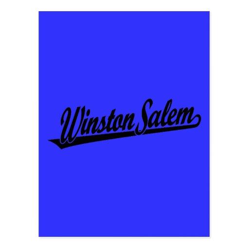 Logotipo de la escritura de Winston-Salem en negro Tarjeta Postal