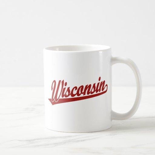 Logotipo de la escritura de Wisconsin en rojo Taza