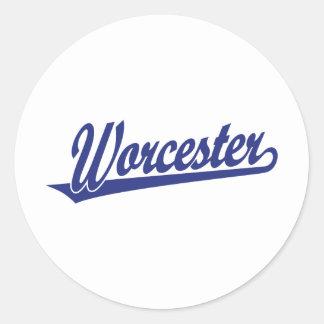 Logotipo de la escritura de Worcester en azul Pegatina Redonda