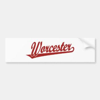 Logotipo de la escritura de Worcester en rojo Pegatina Para Auto