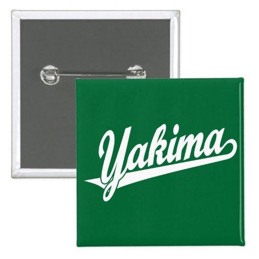 Logotipo de la escritura de Yakima en blanco Pin