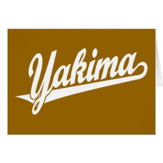 Logotipo de la escritura de Yakima en blanco Tarjeta De Felicitación