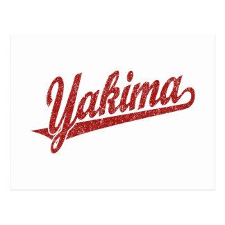 Logotipo de la escritura de Yakima en el rojo apen Tarjetas Postales