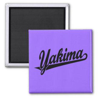Logotipo de la escritura de Yakima en negro Imán Cuadrado
