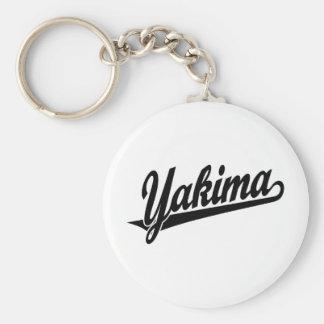 Logotipo de la escritura de Yakima en negro Llavero