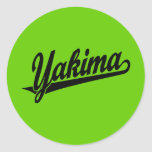 Logotipo de la escritura de Yakima en negro Pegatina Redonda