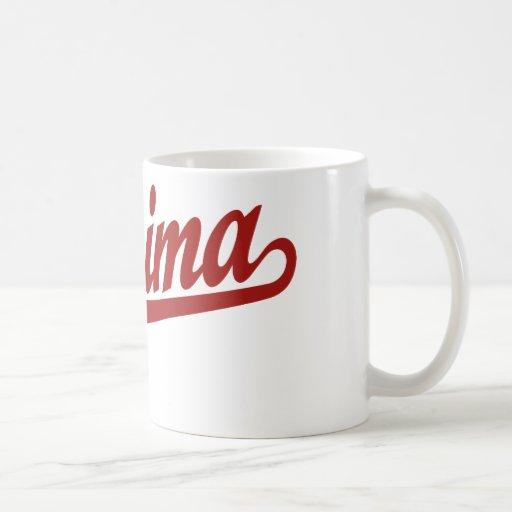 Logotipo de la escritura de Yakima en rojo Tazas De Café