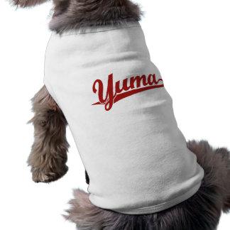 Logotipo de la escritura de Yuma en rojo Playera Sin Mangas Para Perro