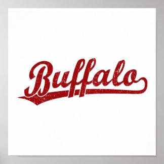 Logotipo de la escritura del búfalo en rojo posters