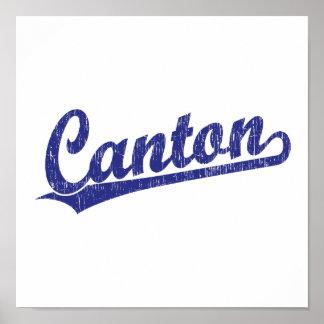 Logotipo de la escritura del cantón en azul poster