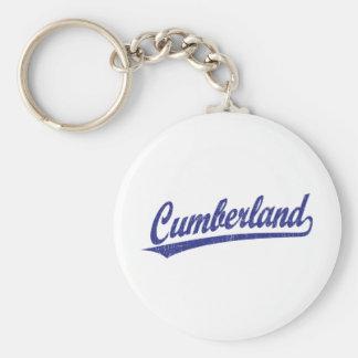 Logotipo de la escritura del Cumberland en azul Llavero Redondo Tipo Pin