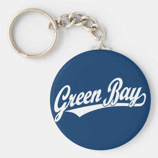Logotipo de la escritura del Green Bay en blanco Llaveros