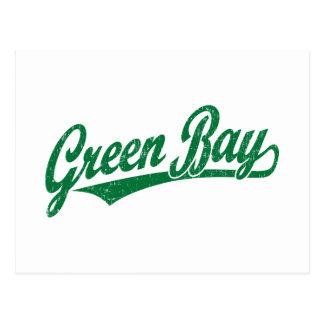 Logotipo de la escritura del Green Bay en el verde Tarjetas Postales