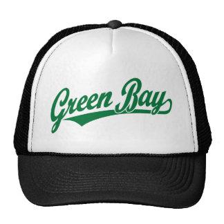 Logotipo de la escritura del Green Bay en verde Gorros Bordados