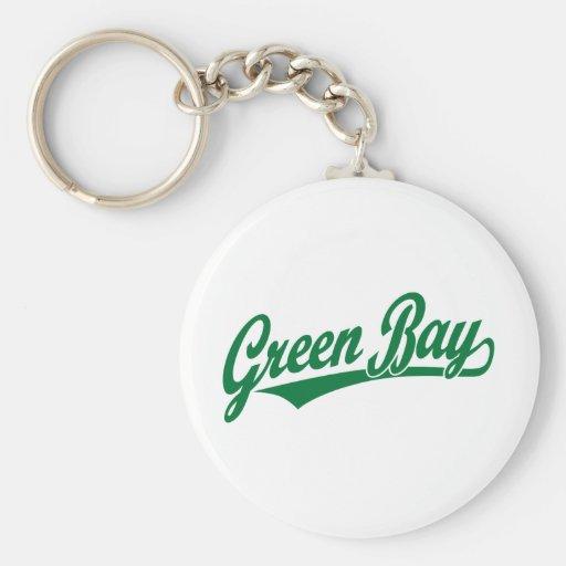 Logotipo de la escritura del Green Bay en verde Llavero
