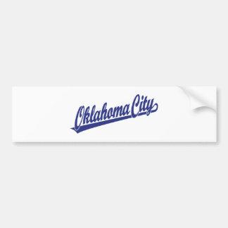 Logotipo de la escritura del Oklahoma City en azul Etiqueta De Parachoque
