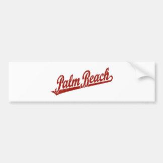 Logotipo de la escritura del Palm Beach en el rojo Etiqueta De Parachoque
