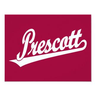 Logotipo de la escritura del Prescott en blanco Invitación 10,8 X 13,9 Cm