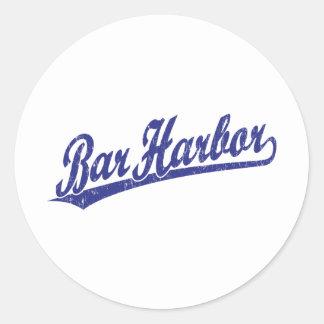 Logotipo de la escritura del puerto de la barra en pegatina redonda